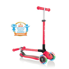 Globber Primo Lights foldable kick scooter, folded and unfolded view, in red