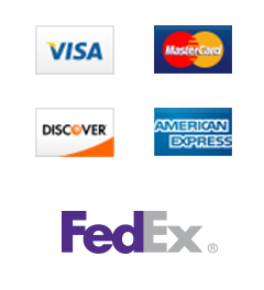 We accept Visa, MasterCard, Discover, and American Express. All product ship via FedEx