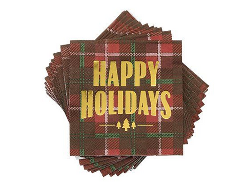 Plaid Happy Holidays Napkins