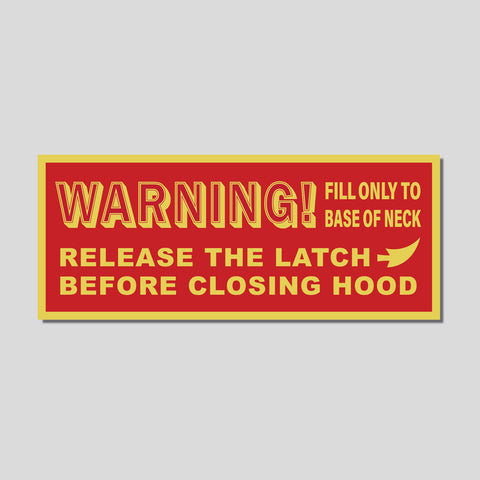 Hood Prop Warning Magnet - Red