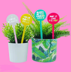 Punny Pot Plant Sticks and Humorous Herb Stakes gift for gardeners by Harlem Starlet Melbourne Australia
