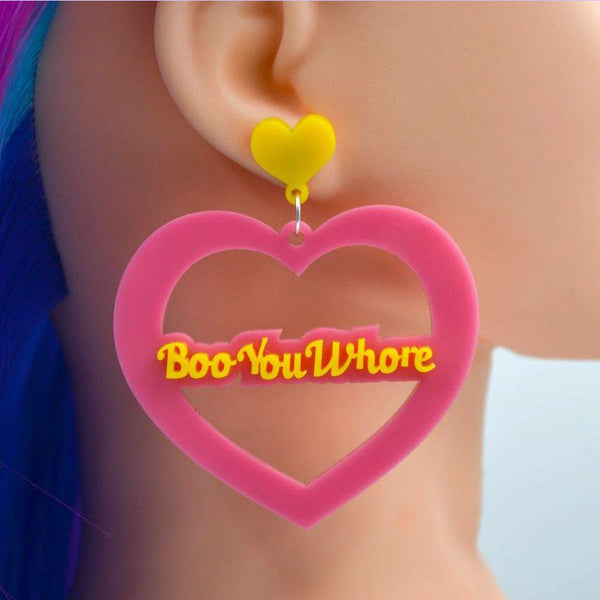 Boo You Whore Mega Heart Cutout Acrylic Earrings - Harlem Starlet