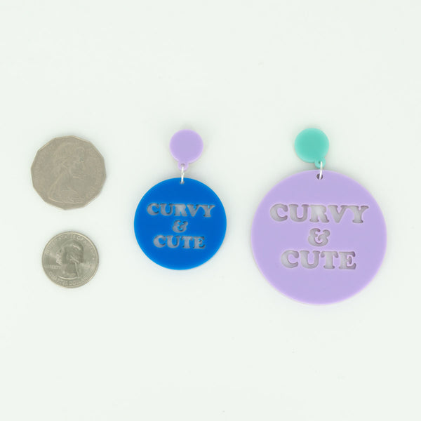 Curvy & Cute Mega or Mini Sized Round Acrylic Earrings - Harlem Starlet