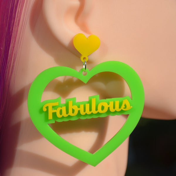 Fabulous Mega Heart Cutout Acrylic Earrings - Harlem Starlet