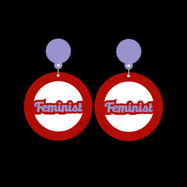 Feminist Mega Hoop Cutout Acrylic Earrings - Harlem Starlet