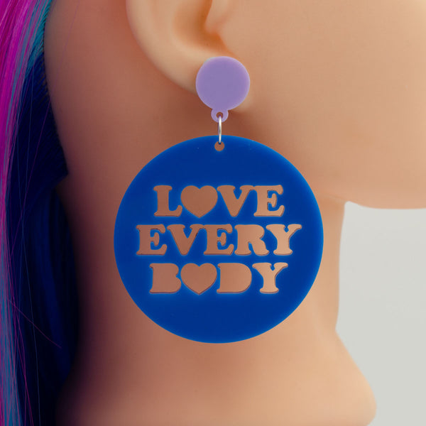 Love Every Body Mega or Mini Sized Round Acrylic Earrings - Harlem Starlet
