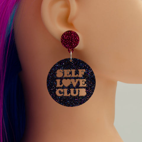 Self Love Club Mega or Mini Sized Round Acrylic Earrings - Harlem Starlet