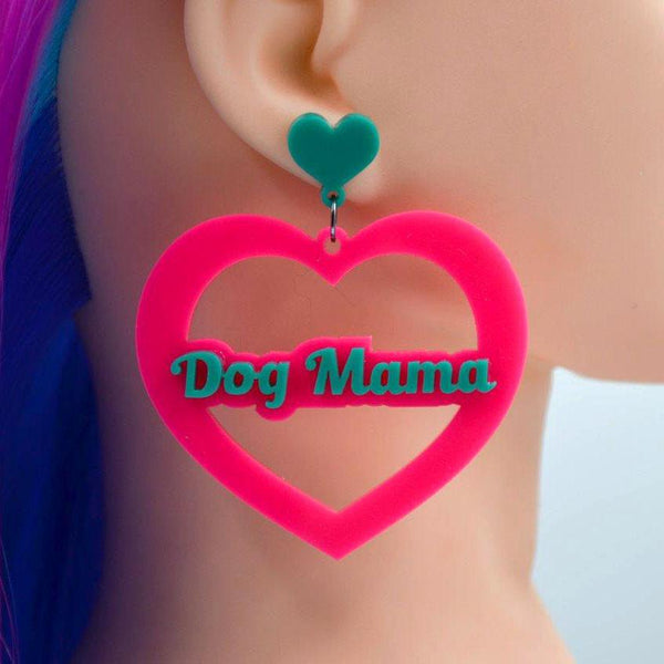 Dog Mama Mega Heart Cutout Acrylic Earrings - Harlem Starlet