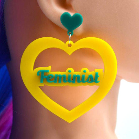 Feminist Mega Heart Cutout Acrylic Earrings - Harlem Starlet