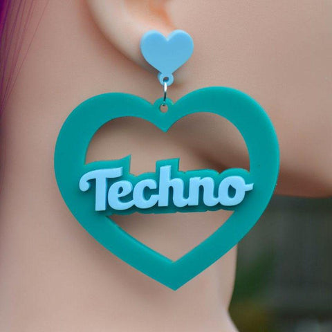 Techno Mega Heart Cutout Acrylic Earrings - Harlem Starlet