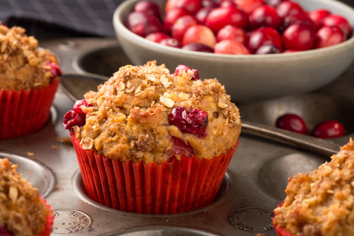 Gluten-Free Apple-Oat Muffins with Cranberries and Walnuts