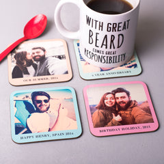 Set of Four, Personalised Pastel Photo Coasters
