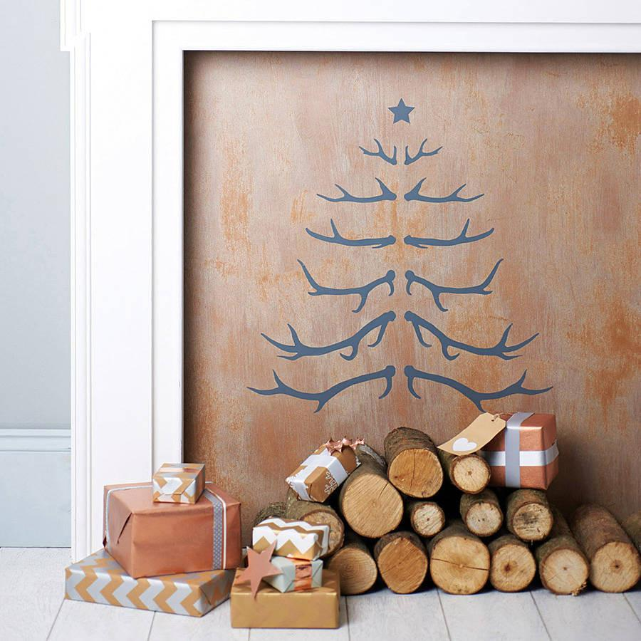 Antler Christmas Tree Wall Sticker   Oakdene Designs   1 Part 45
