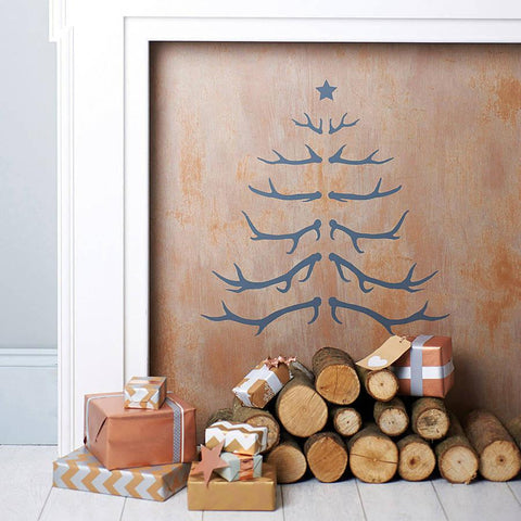 Antler Christmas Tree Wall Sticker - Oakdene Designs - 1