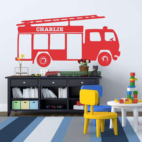Personalised Fire Engine Vinyl Wall Sticker - Oakdene Designs - 1