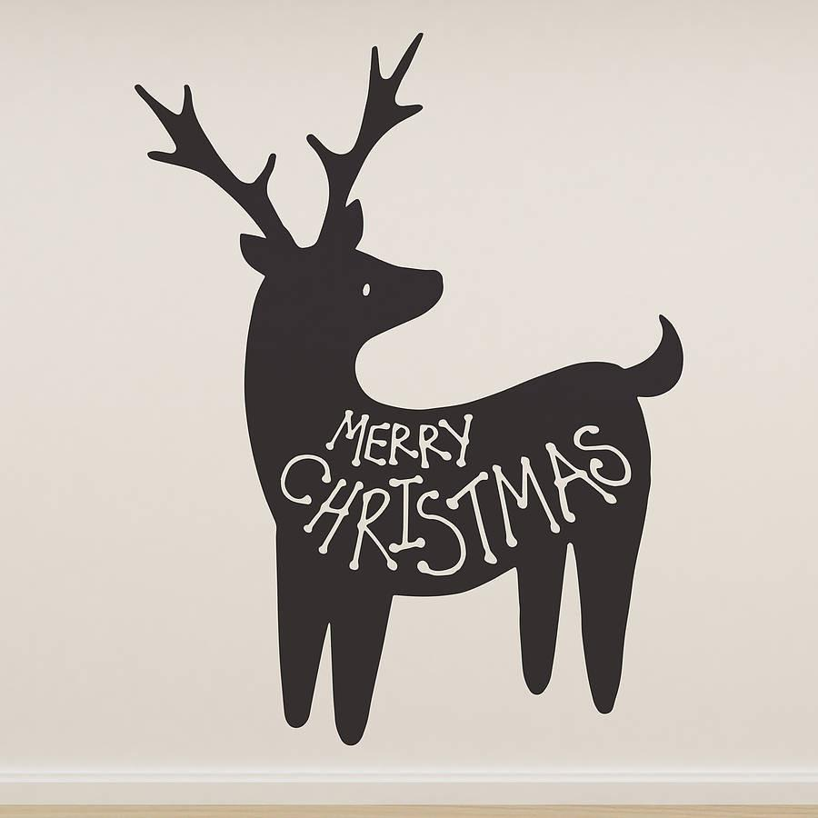 Christmas wall stickers oakdenedesigns merry christmas reindeer wall sticker oakdene designs 1 amipublicfo Gallery