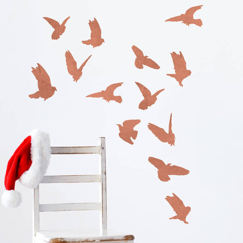 Copper Effect Bird Wall Sticker Set - Oakdene Designs - 1
