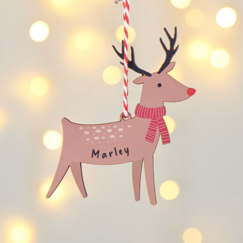Personalised Reindeer Hanging Decoration