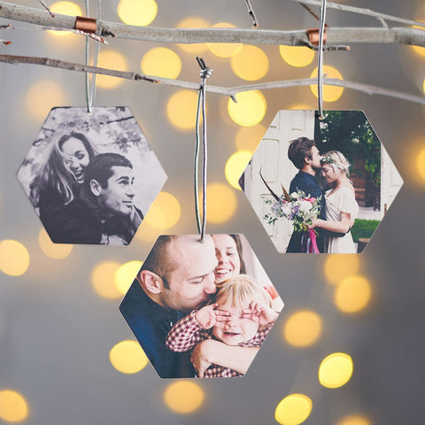 Personalised Hexagon Photo Xmas Decoration