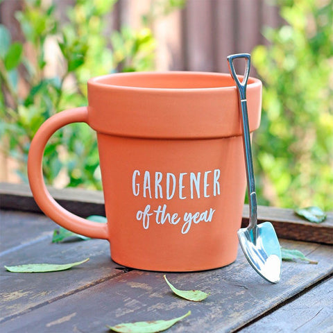 Gardener Of The Year Pot Mug And Shovel Spoon