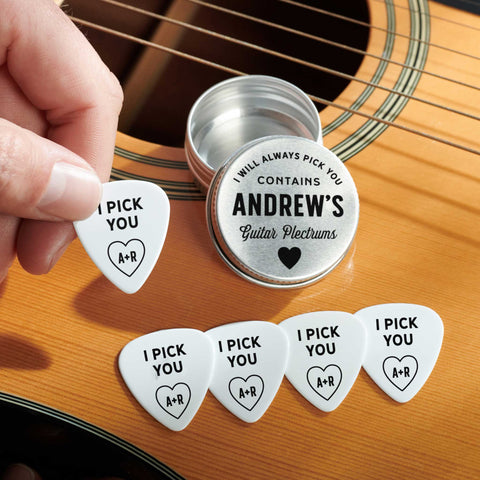 Personalised Valentines Or Anniversary Guitar Plectrums
