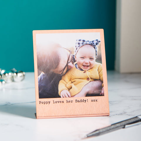 Personalised Solid Copper Photo Gift Print - Dad & Child