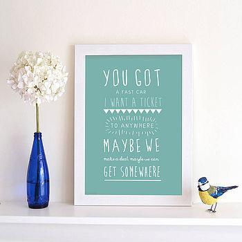 Personalised Song Lyric Print - Oakdene Designs - 1