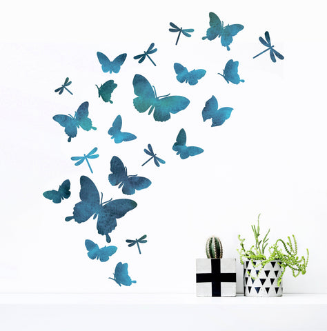 Watercolour Butterfly And Dragonfly Wall Sticker Set