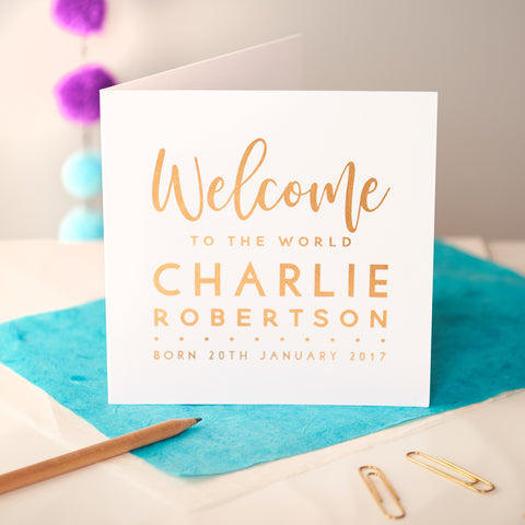 Personalised 'Welcome' Copper Foiled New Baby Card