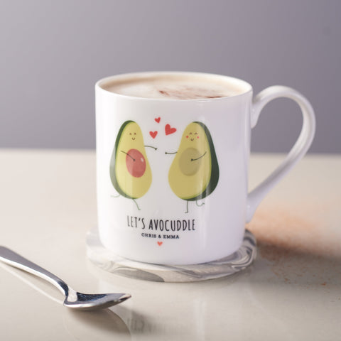 Personalised Couples Avocado Bone China Mug
