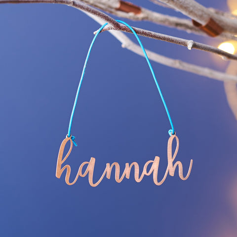 Personalised Solid Copper Name Christmas Decoration