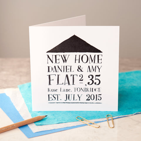 Personalised Black Foiled New Home Card