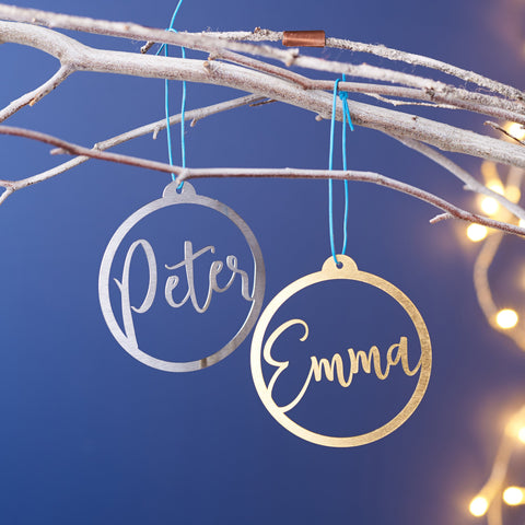 Personalised Metal Name Christmas Bauble