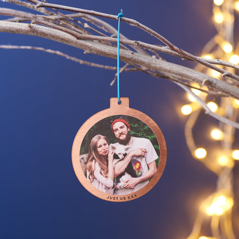 Personalised Solid Copper Photo Christmas Bauble