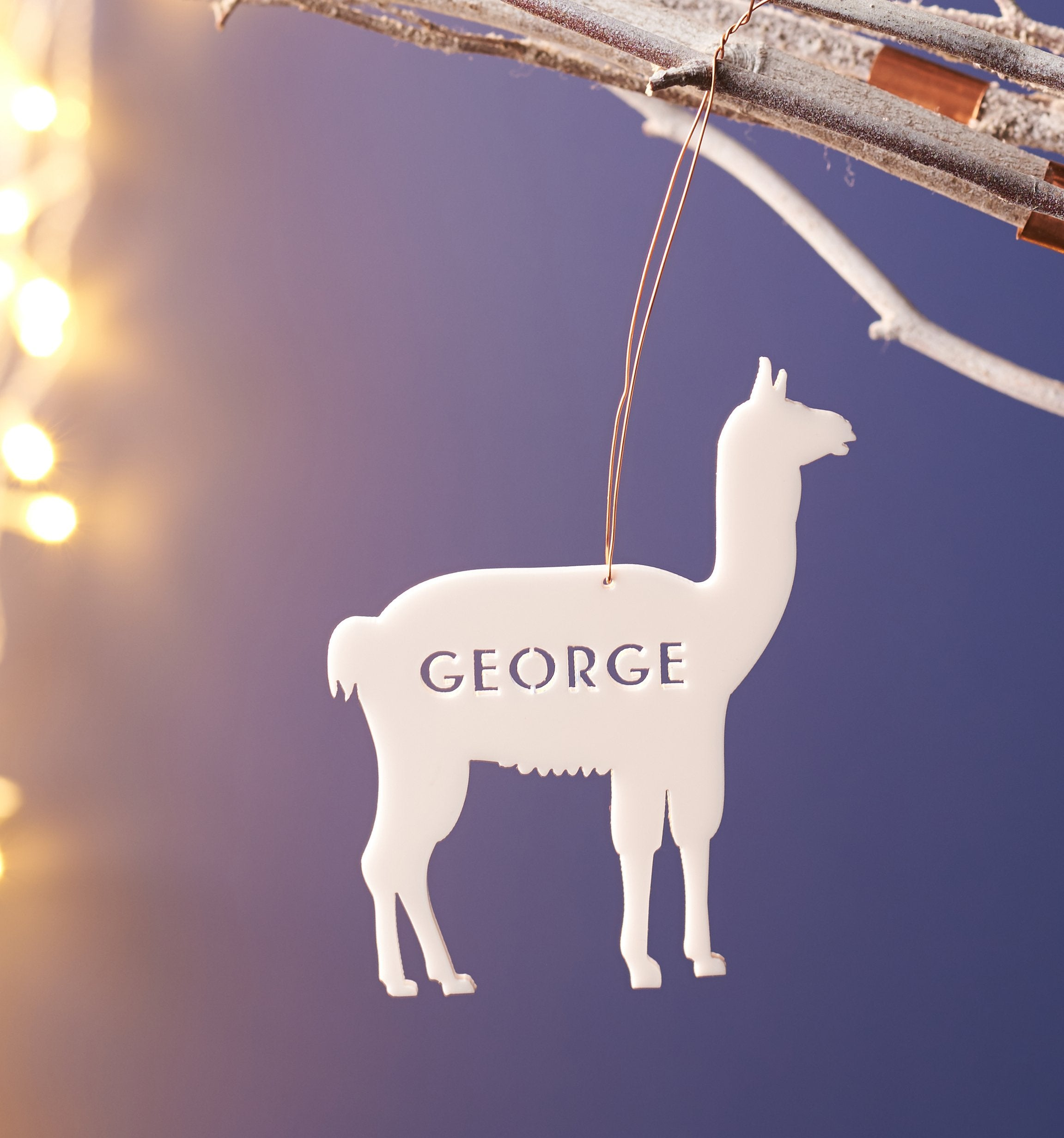 personalised acrylic llama name christmas decoration