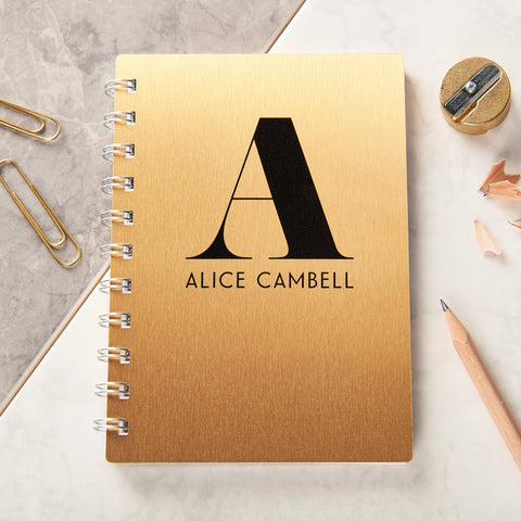 Personalised Gold Metal Monogram Pocket Notebook