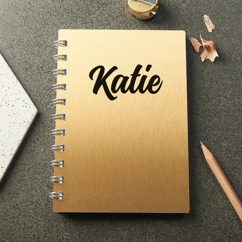 Personalised Gold Metal Name Pocket Notebook