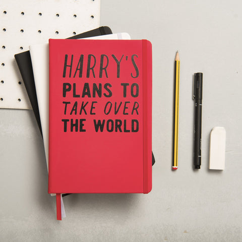 Personalised Plans To Take Over The World Notebook - Oakdene Designs - 1