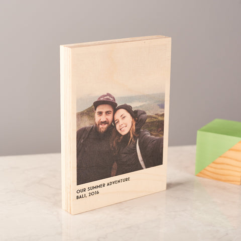 Personalised Wooden Birch Photo Block