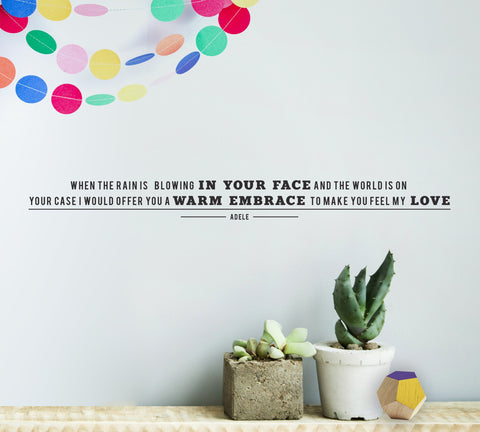 Personalised Song Lyric Vinyl Wall Sticker