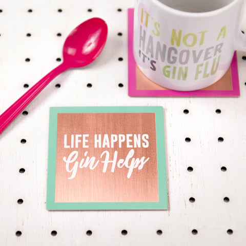 'Life Happens, Gin Helps' Solid Copper Coaster - Oakdene Designs - 1