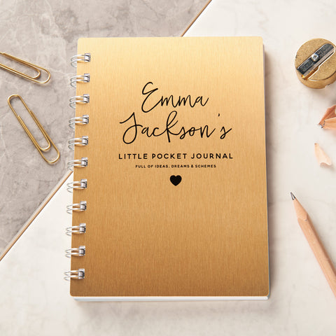 Personalised Gold Metal Metallic Pocket Notebook