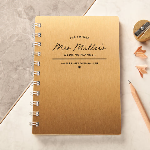Personalised Gold Wedding Planner Pocket Notebook