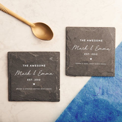 Personalised Couples Favourite Drink Slate Coasters