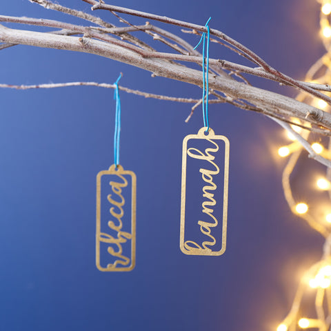 Personalised Solid Brass Name Christmas Decoration