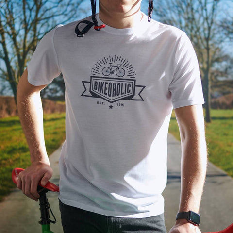 Men's Personalised 'Bikeoholic' White T Shirt