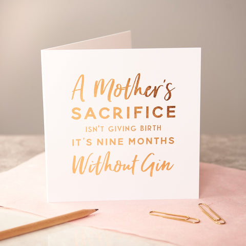 'A Mother's Sacrifice' Copper Foiled New Baby Card