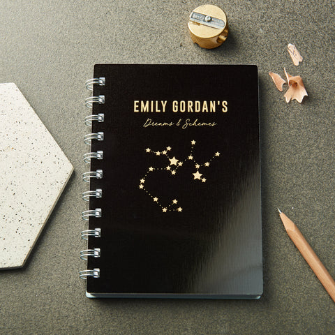 Personalised Metal Metallic Star Sign Pocket Notebook