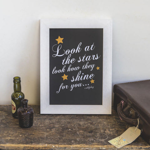 'Look At The Stars' Coldplay Print