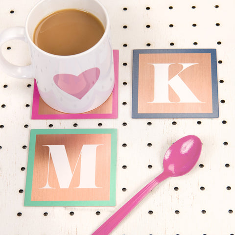 Personalised Solid Copper Monogram Coaster - Oakdene Designs - 1